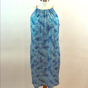 Michael Kors Blue White Tiedye Knee Length Dress M